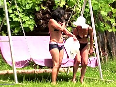 Lesbian home story with granny mature mom and girl