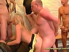 extreme pierced stepmom in her first gangbang